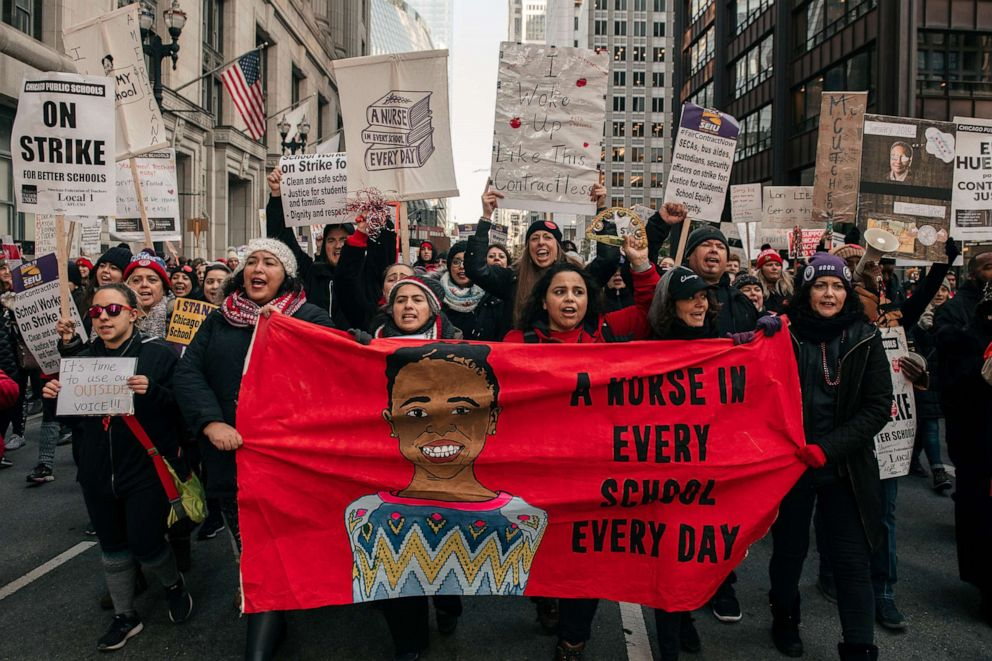 PHOTO: Thousands of demonstrators took to the streets of Downtown Chicago, stopping traffic and circling City Hall in a show support for the ongoing teachers strike on Oct. 23, 2019 in Chicago, I.L.