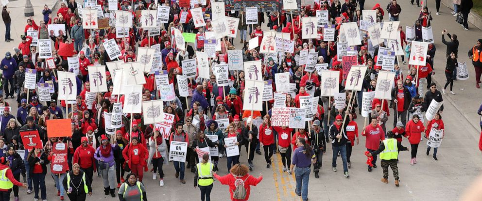 PHOTO: Teachers protest during a rally and march on the first day of a teacher strike in Chicago, Oct. 17, 2019.