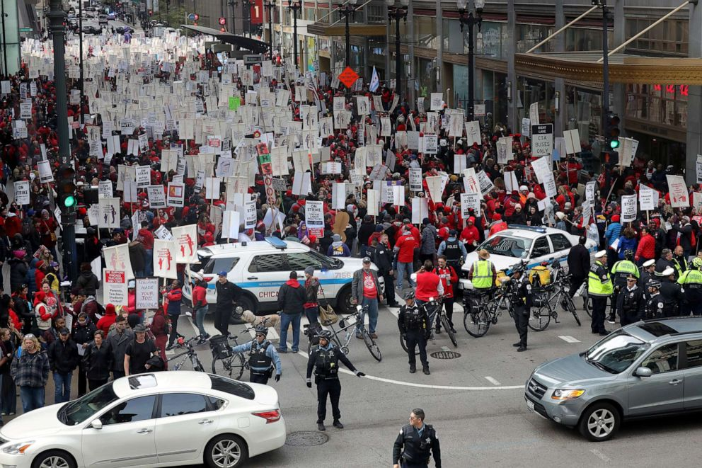 PHOTO: Teachers protest during a rally on the first day of a teacher strike in Chicago, Oct. 17, 2019.