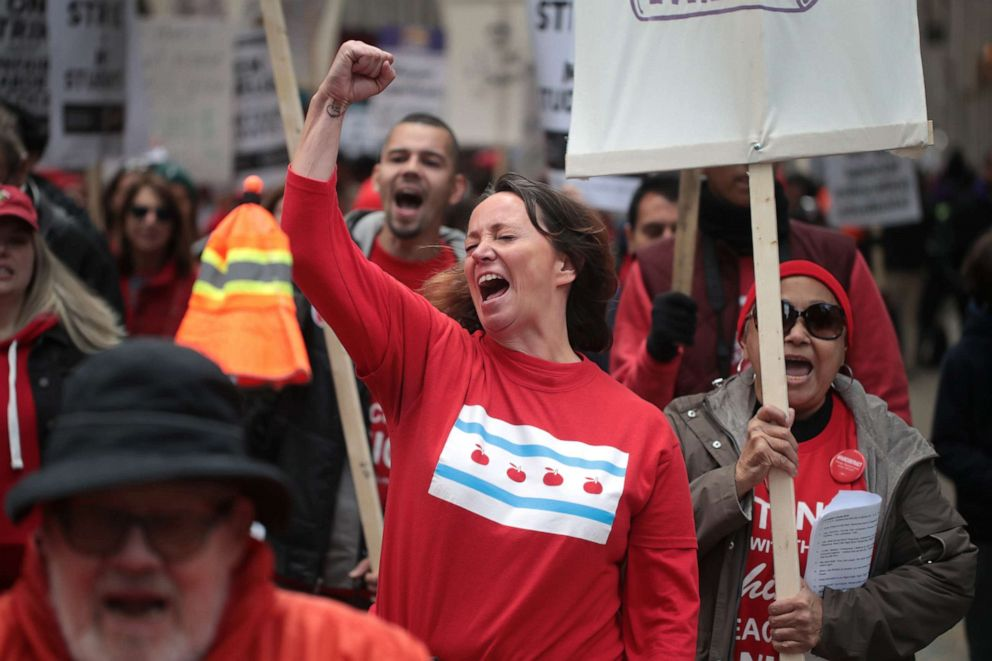 PHOTO: Chicago public school teachers and their supporters march through the Loop on Oct. 17, 2019 in Chicago.