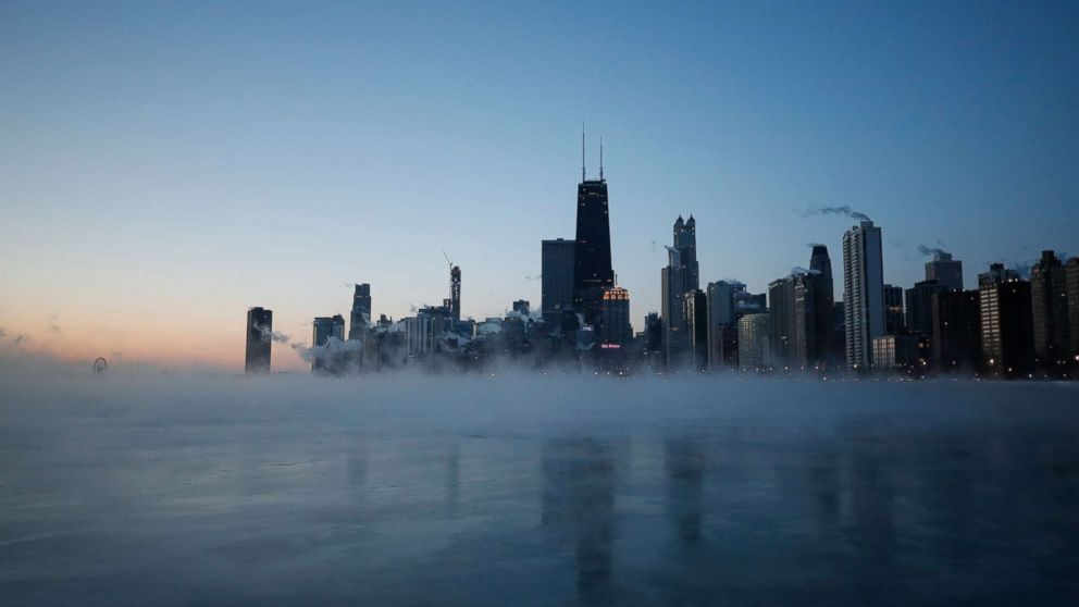 The sun rises over Lake Michigan in Chicago, Jan. 30,  2019.