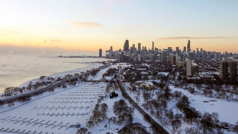 Chicago's lakefront is covered with ice on, Jan. 30, 2019.