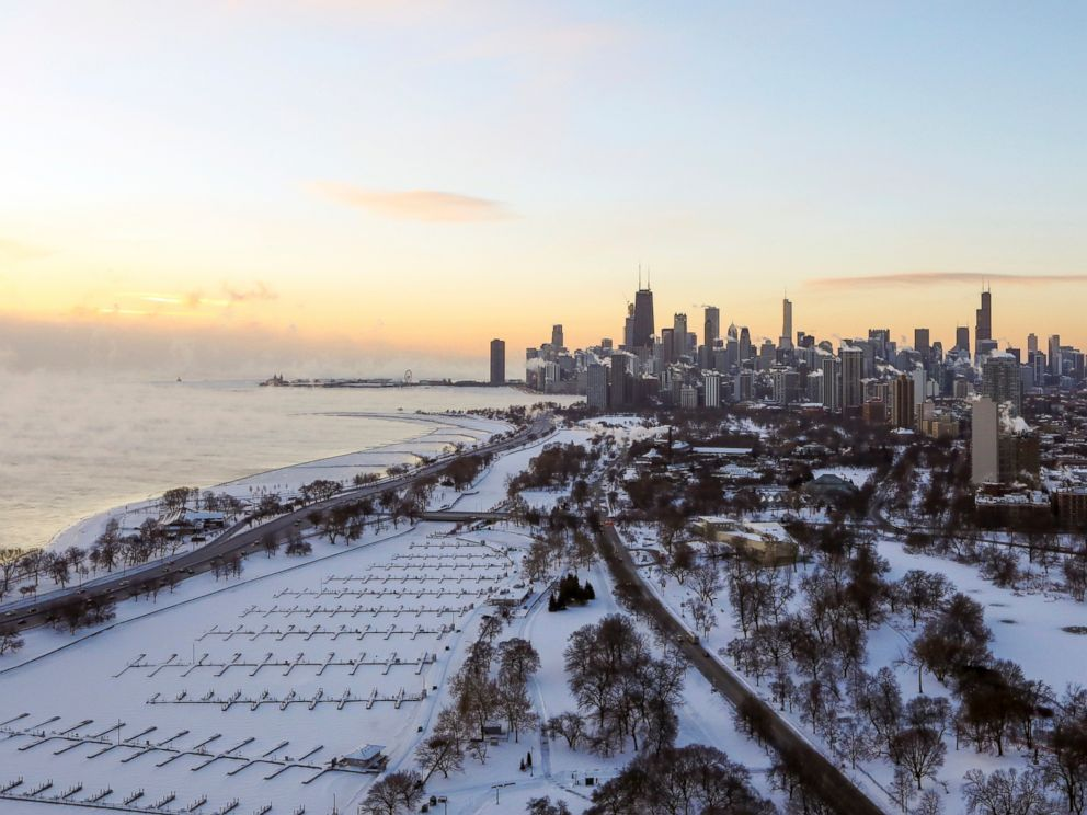 PHOTO: Chicagos lakefront is covered with ice on, Jan. 30, 2019.