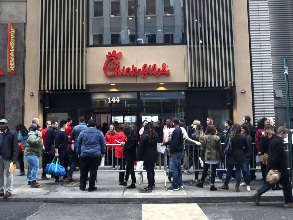 PHOTO: A new Chick-fil-A opened on Fulton Street in New York, March 30, 2018.