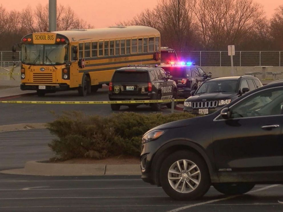 PHOTO: Police tape marks the scene where a 4-year-old girl was struck and killed by a vehicle driven by a Columbia Police officer at Muriel Williams Battle High School in Columbia, Mo., Jan. 4, 2018.