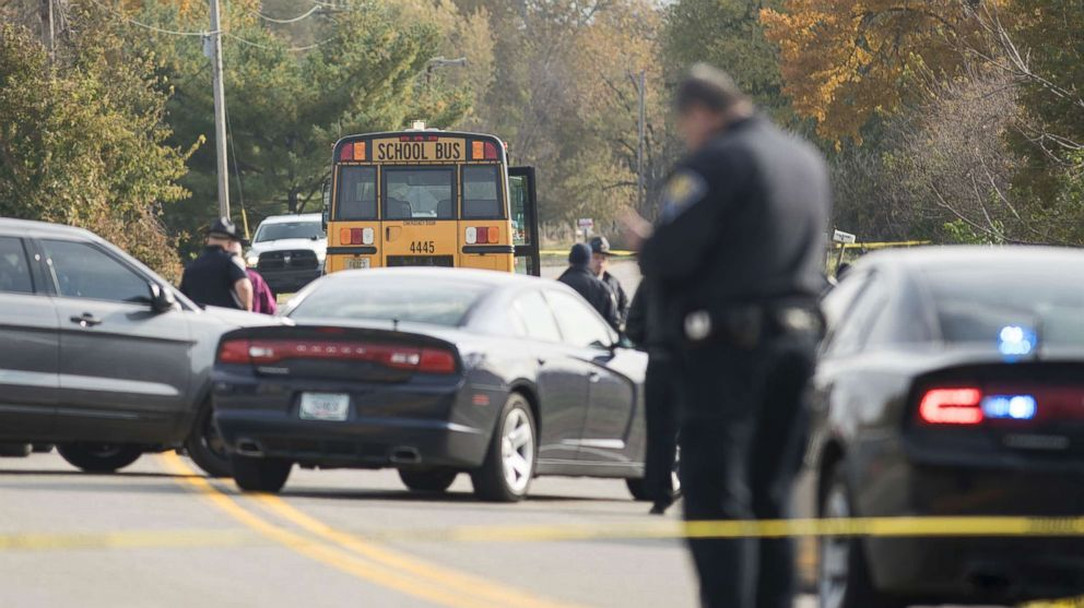Emergency personnel responded to a scene of a collision that killed three children crossing SR 25 as they were boarding their school bus north of Rochester, Ind., Oct. 30, 2018.