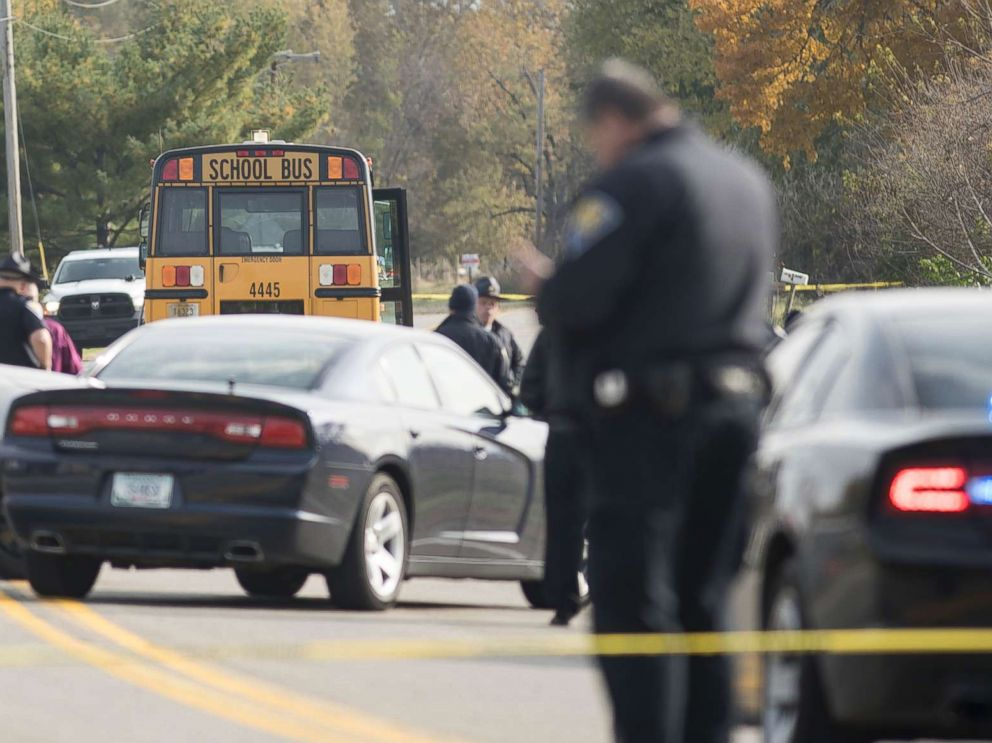 PHOTO: Emergency personnel responded to a scene of a collision that killed three children crossing SR 25 as they were boarding their school bus north of Rochester, Ind., Oct. 30, 2018.