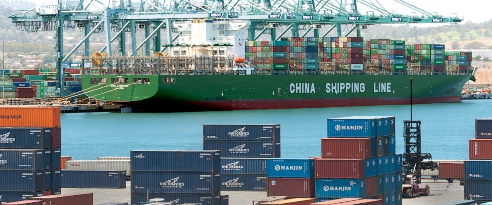 PHOTO: Chinese cargo ship at the port of Long Beach in California, June 7, 2012.