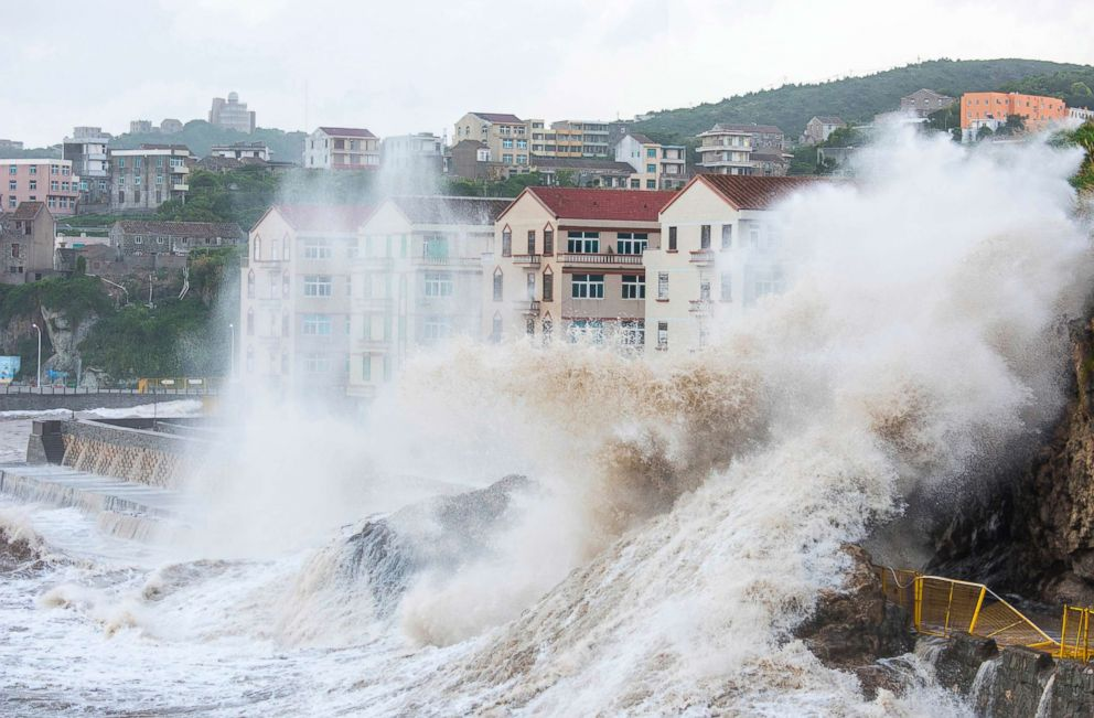 PHOTO: Large waves crash against the shoreline as typhoon Maria approaches in Wenling city in eastern Chinas Zhejiang Province, July 10, 2018.