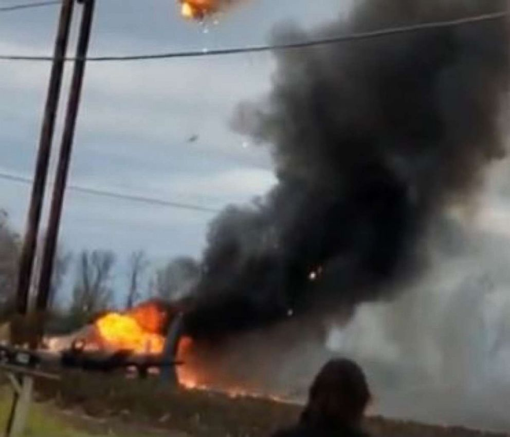 PHOTO: Two people were killed when a helicopter hit power lines in Beekmantown, N.Y., on Tuesday, Oct. 30, 2018.