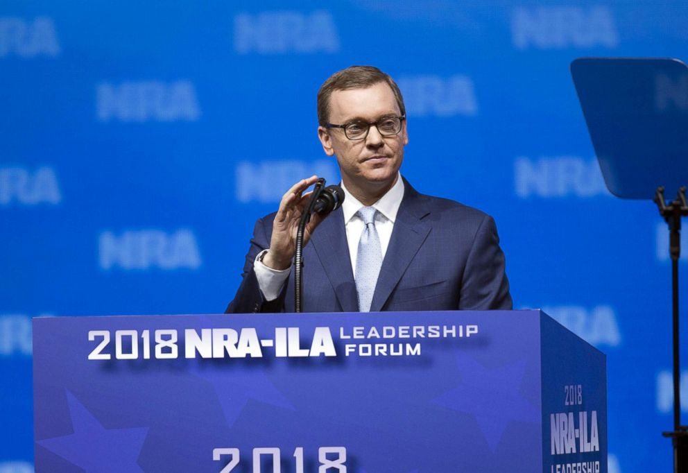 PHOTO: Chris Cox, chief lobbyist of the National Rifle Association, prepares to speak at the National Rifle Association Institute for Legislative Action Leadership Forum during the NRA annual meeting in Dallas, May 4, 2018.
