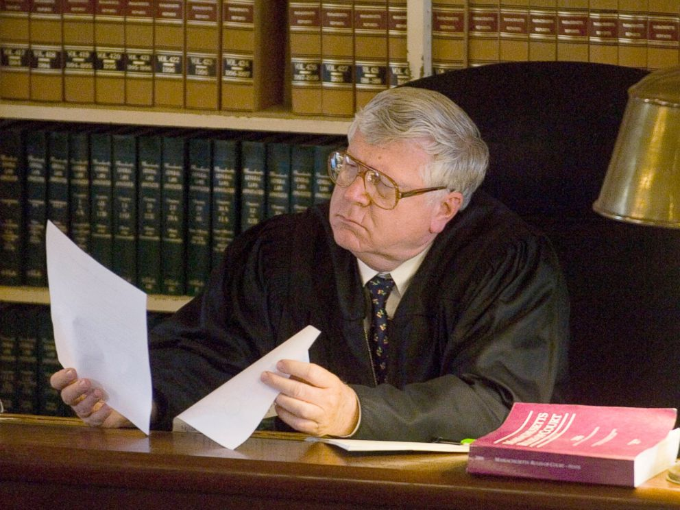 PHOTO: Superior Court Judge Gary Nickerson reviews court documents during the murder trial of Christopher McCowen at Barnstable Superior Court in Barnstable, Mass., Oct. 31, 2006.