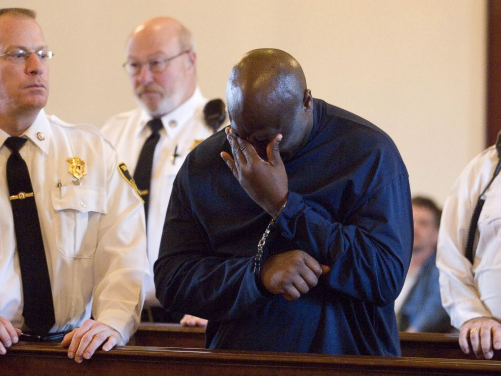 PHOTO: Christopher McCowen wipes away tears as he is sentenced after being convicted of rape and murder in the slaying of a fashion writer Christa Worthington, Nov. 16, 2006, in Barnstable, Mass.