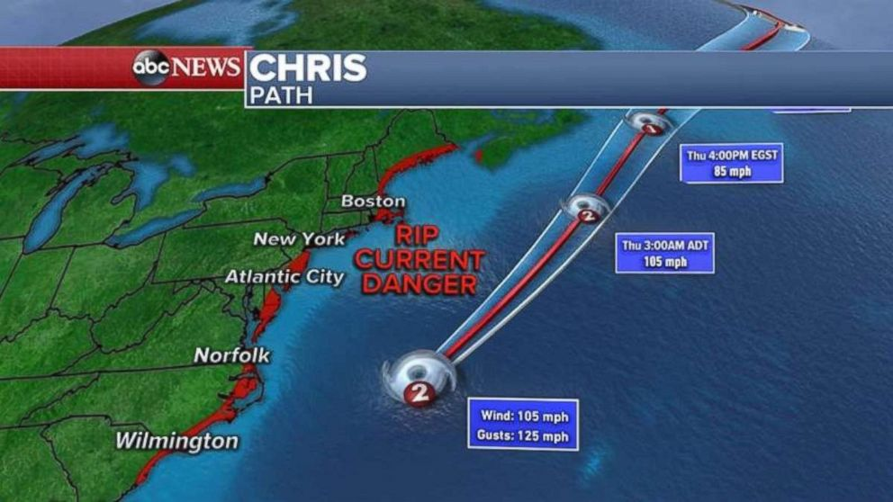 Hurricane Chris is not forecast to hit the East Coast.