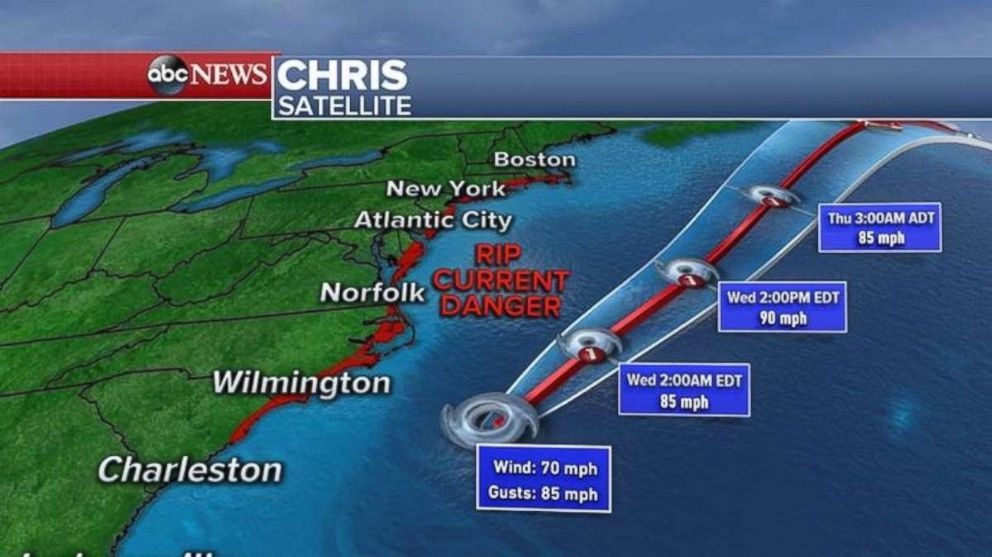 Chris will move parallel to the East Coast through the next two days.