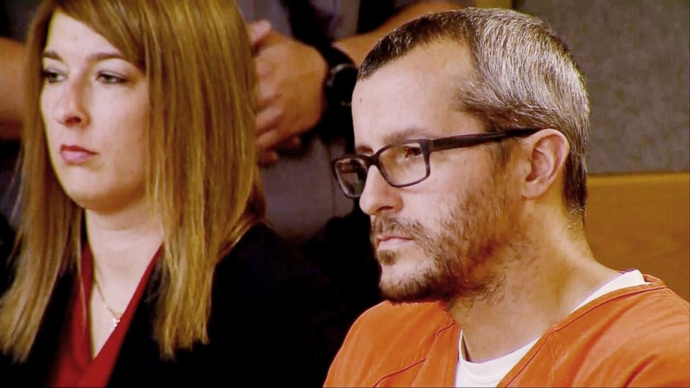 Chris Watts appears in court in Colorado for his sentencing on Nov. 19, 2018.