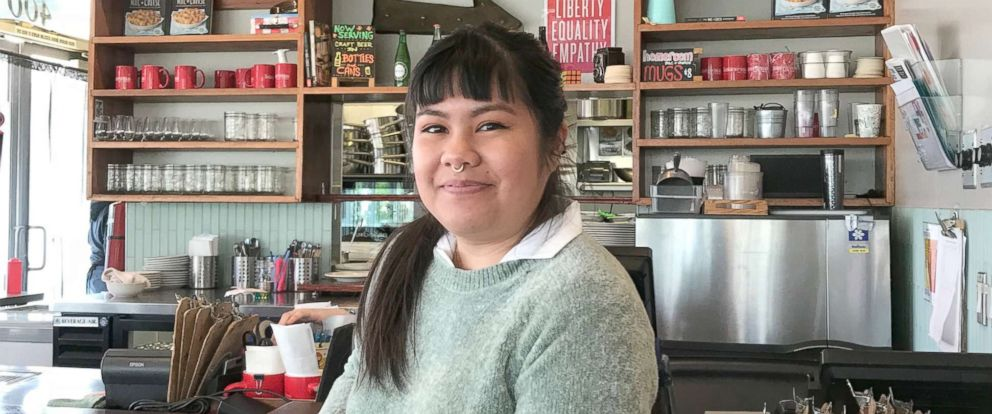 PHOTO: Chrissel Orcino, a server at Homeroom, said that the system helped her express her emotions when she experienced something distressing on the job.