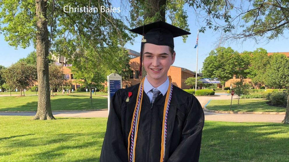 Holy Cross High School's graduating valedictorian and student council president Christian Bales is pictured on May 25, 2018.