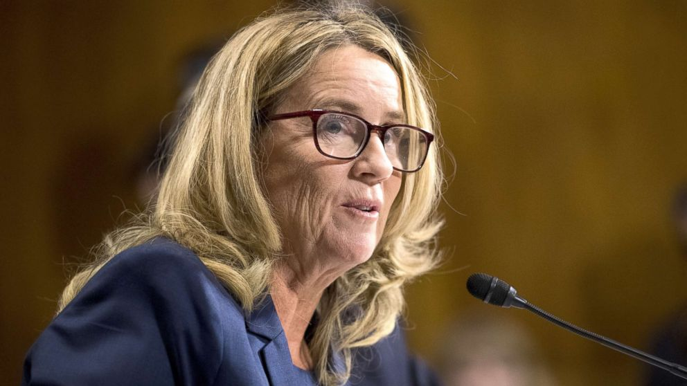 Christine Blasey Ford testifies during the Senate Judiciary Committee hearing on the nomination of Brett M. Kavanaugh to be an associate justice of the Supreme Court of the U.S., on Capitol Hill, Sept. 27, 2018, in Washington, DC.