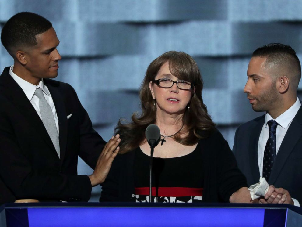 PHOTO: Christine Leinonen is comforted by Brandon Wolf (L) and Jose Arriagada (R), survivors of the attack at the Pulse nightclub in Orlando, at the Democratic National Convention at the Wells Fargo Center, July 27, 2016 in Philadelphia.