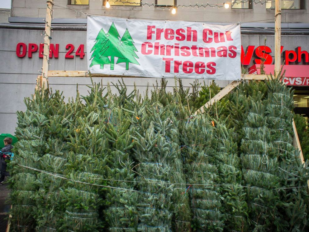 PHOTO: Christmas trees for sale in the New York neighborhood of Chelsea.
