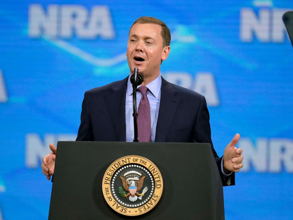 PHOTO: Nation Rifle Association Institute for Legislative Action Executive Director Christopher W. Cox speaks at the NRA-ILA Leadership Forum in Indianapolis, April 26, 2019.