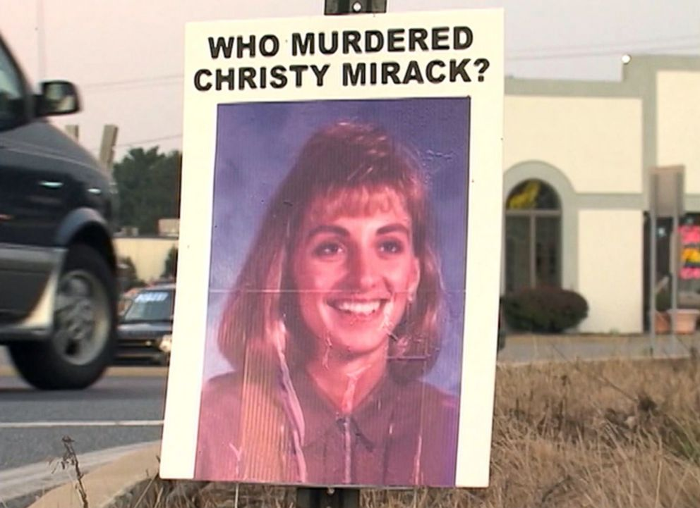 PHOTO: A sign seeking information on the 1992 murder of Christy Mirack is seen in the Lancaster, Pa., area in an image made from file video.