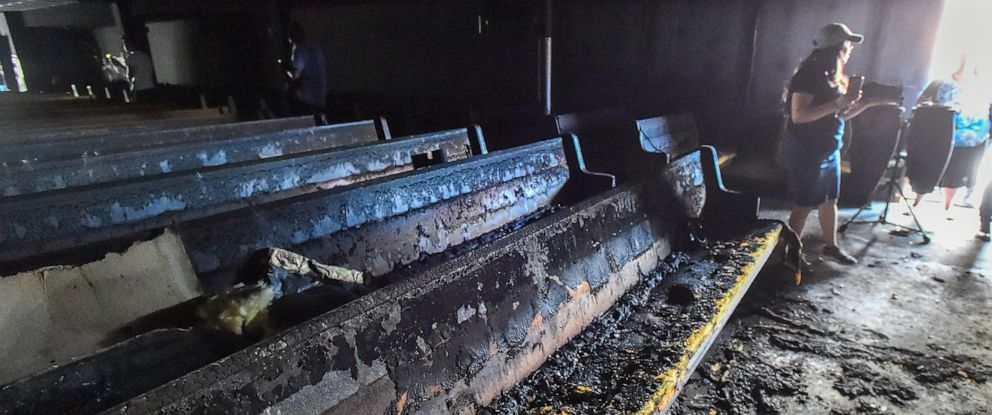 PHOTO: Burnt pews following a fire in Bethlehem, Pa., that broke out at Iglesia Pentecostal De Bethlehem Church on April 23, 2019.