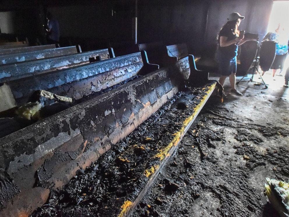 PHOTO: Burnt pews following a fire in Bethlehem, Pa., that broke out at Iglesia Pentecostal De Bethlehem Church on April 23, 2019.
