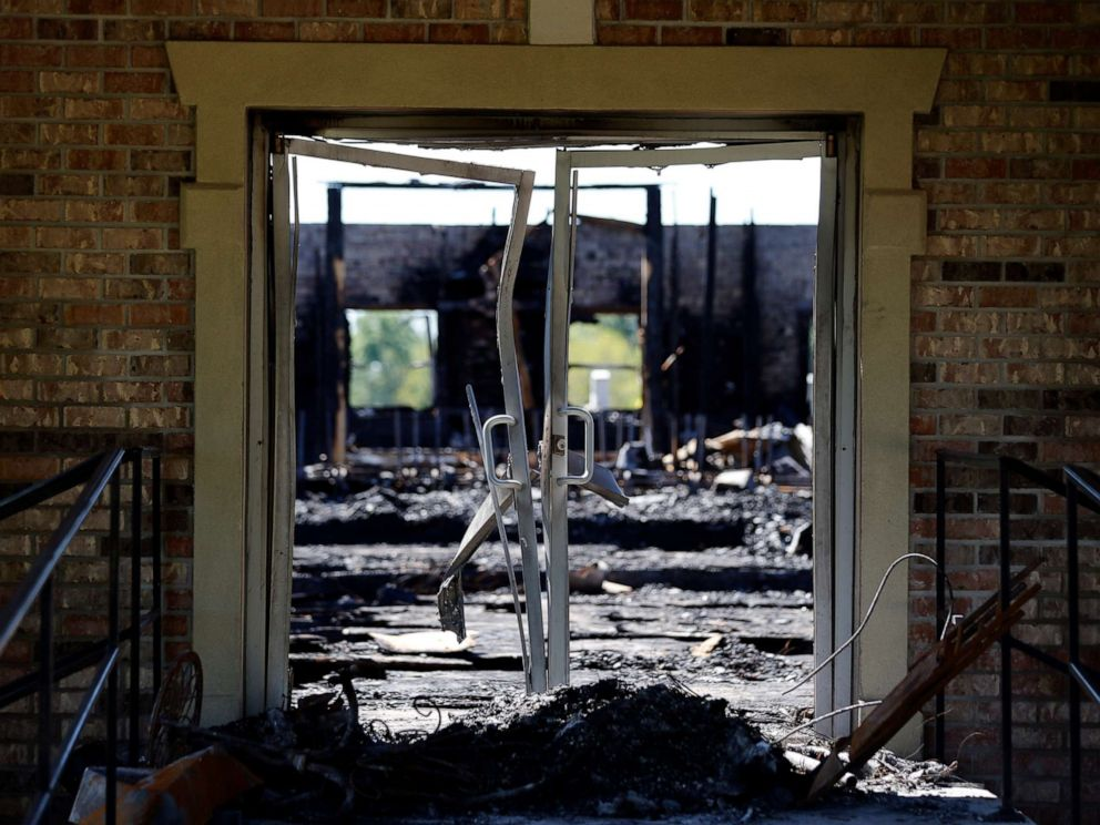 PHOTO: The burnt ruins of the Greater Union Baptist Church, one of three that recently burned down in St. Landry Parish, are seen in Opelousas, La., Wednesday, April 10, 2019.