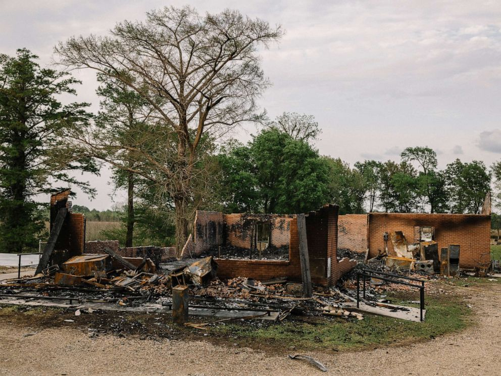 PHOTO: The remains of St. Mary Baptist Church after a fire days earlier, in Port Barre, La., April 6, 2019.