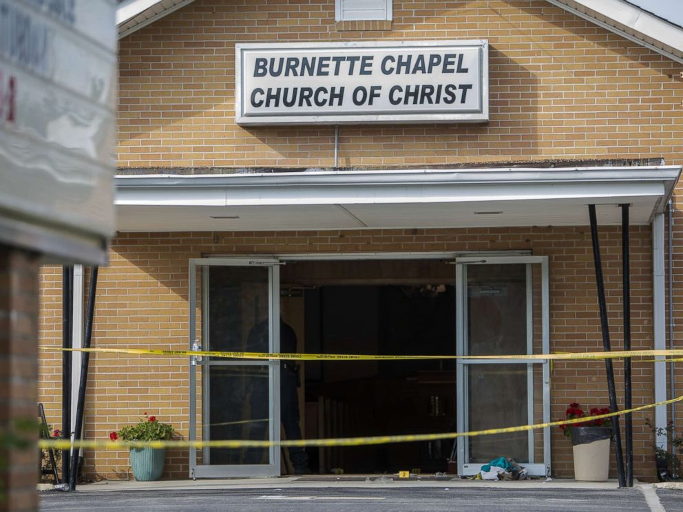 PHOTO: Law enforcement continues their investigation around the Burnette Chapel Church of Christ, Sept. 24, 2017, in Antioch, Tenn. One person was killed and seven were wounded when a gunman opened fire in the church.