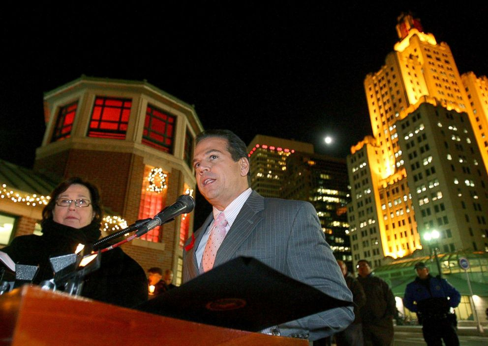 PHOTO: Mayor David Cicilline speaks in front of the Providences Skating Rink, which is illuminated (RED) in honor of World AIDS Day, Dec. 1, 2009, in Providence, R.I.
