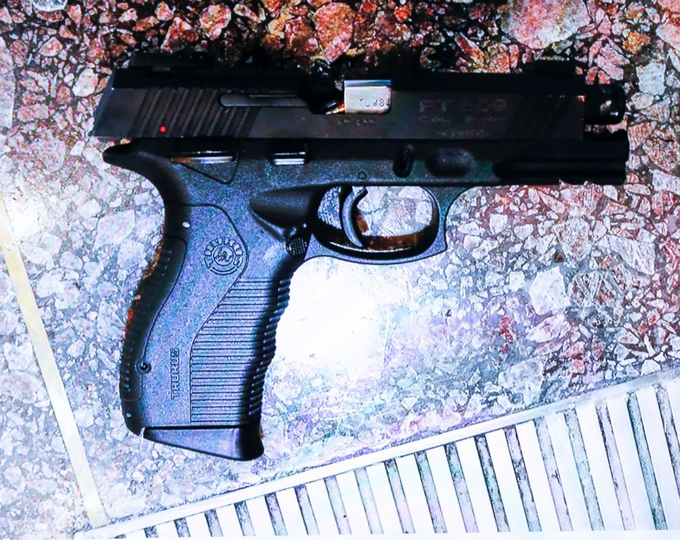 PHOTO: A photo of the pistol alleged to be used by suspect Omar Enrique Santa Perez is displayed during a news conference, Sept. 7, 2018, in Cincinnati.