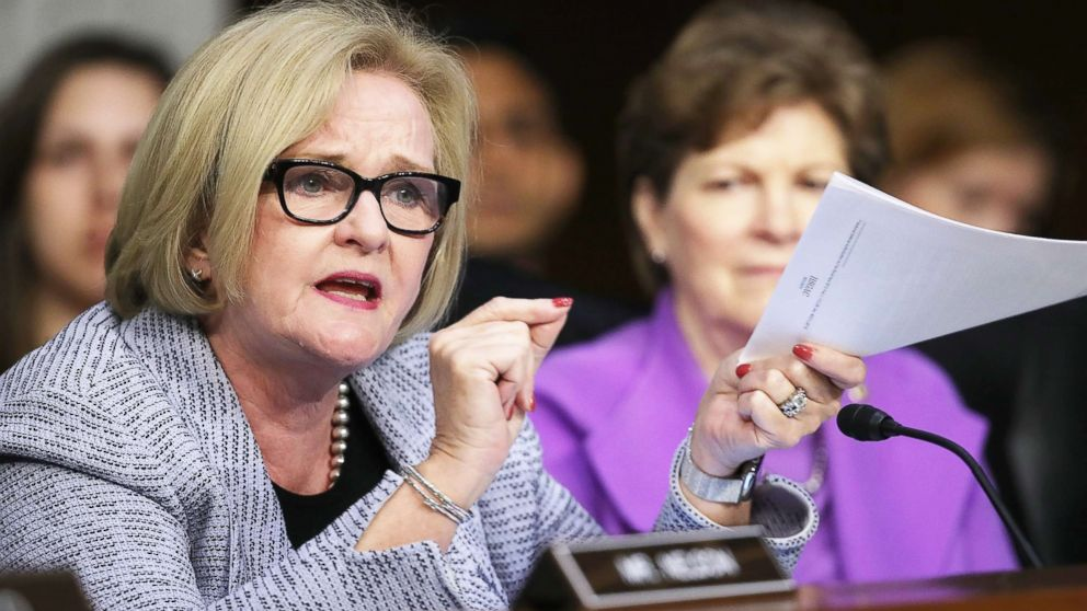 Sen. Claire McCaskill questions Secretary of Defense James Mattis about a new report detailing procurement violations involving a defense contractor at a hearing held by the Senate Armed Services Committee April 26, 2018 in Washington.