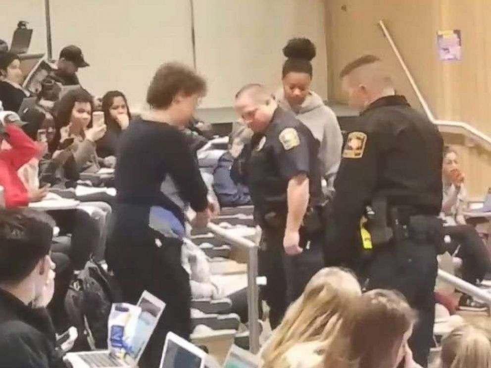 PHOTO: An African American student at the University of Texas at San Antonio was removed from class by police after her biology professor reportedly complained she had her feet on the seat in front of her.