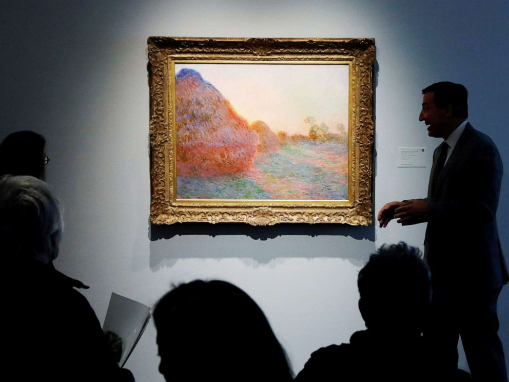 PHOTO: The painting by Claude Monet, part of the Haystacks Les Meules series is displayed at Sothebys during a press preview of their upcoming impressionist and modern art sale in New York, May 3, 2019.