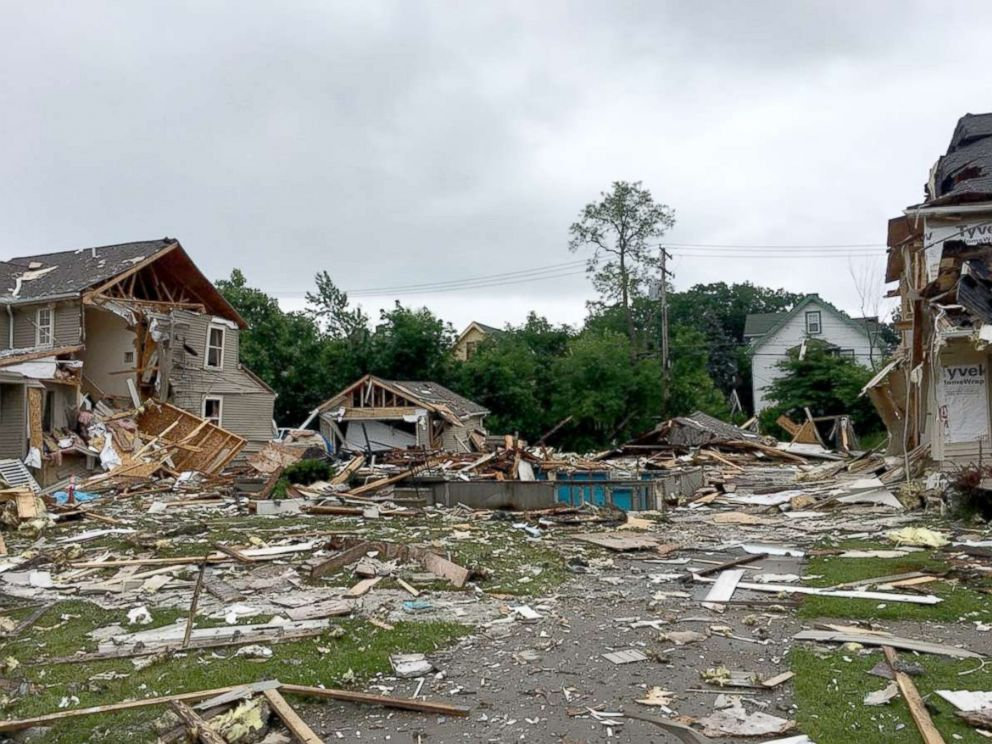 PHOTO: Emergency crews investigate the scene of a home explosion in East Cleveland, Ohio, June 10, 2018.
