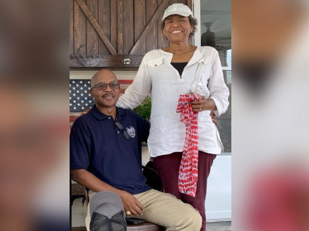 PHOTO: Saron James, 62, poses in this undated photo with her husband, Cleveland James. The couple was driving home from a doctors appointment on July 16, 2019, in the Houston suburb of Katy when she was shot in the head.