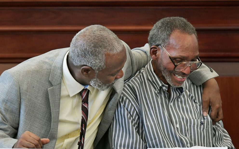 PHOTO: Nathan Myers, left, hugs his uncle, Clifford Williams, during a news conference after their 1976 murder convictions were overturned Thursday, March 28, 2019 in Jacksonville, Fla.