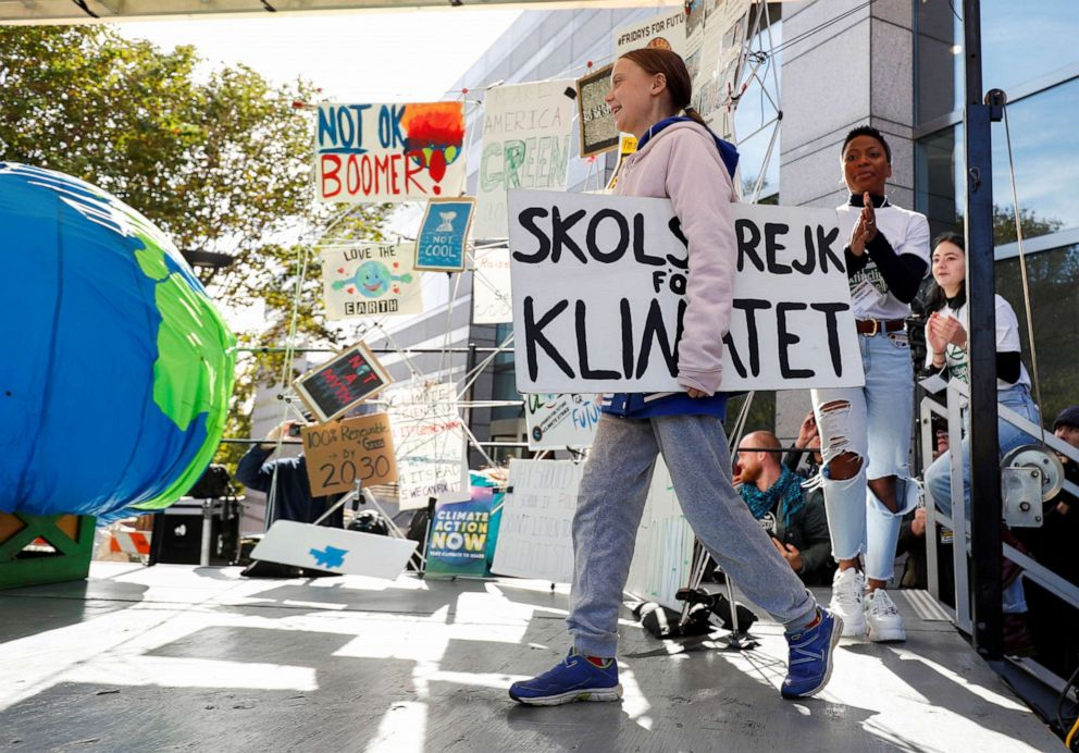 PHOTO: Swedish teen environmental activist Greta Thunberg walks to the stage before leading a climate change rally in Charlotte, N.C., Nov. 8, 2019.