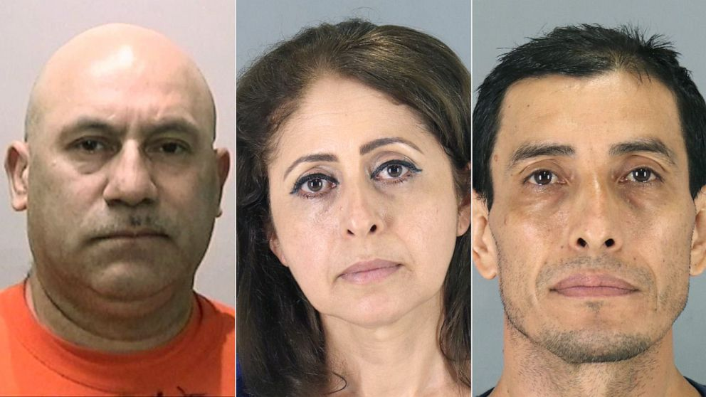PHOTO: Luisandor Suarez, Haydee Arguello and Wilfredo Amaya in police booking photos.