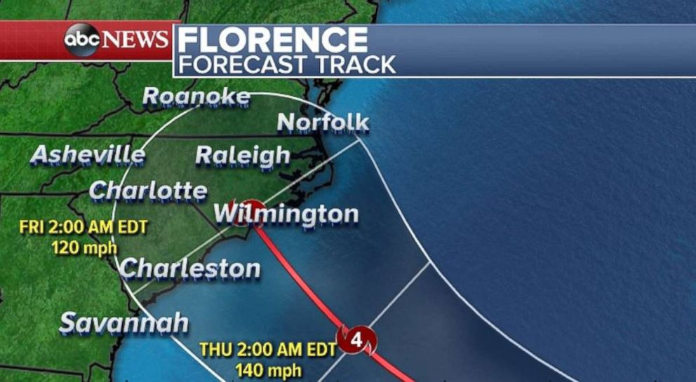 PHOTO: Florence, as a hurricane, will approach the Southeast coastline overnight Thursday into Friday.