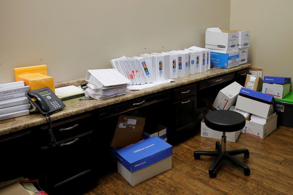 Binders and boxes store the large database of black lung cases and histories gathered by Dr. Brandon Crum at United Medical Group in Pikeville, Ky., May 22, 2018. Dr. Crum, a fourth generation coal miner whose family members still mine coal, is the radiologist who first noticed the massive number of x-rays of complicated black lung in the region. His black lung disease database tracks variables such as which vein miners worked, and the type of job they did.