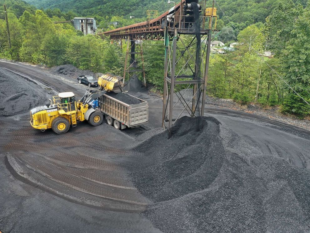 PHOTO: In this August 26, 2019, file photo, coal is loaded onto a truck at a mine on near Cumberland, Kentucky.