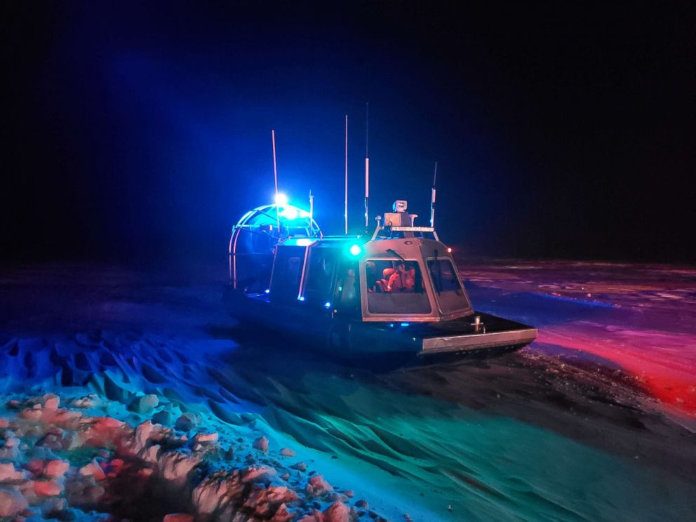 PHOTO: A Coast Guard Station Sturgeon Bay boatcrew responds to seven people stranded on the ice in an ice shanty near Sturgeon Bay, Wisconsin, Jan. 29, 2019.
