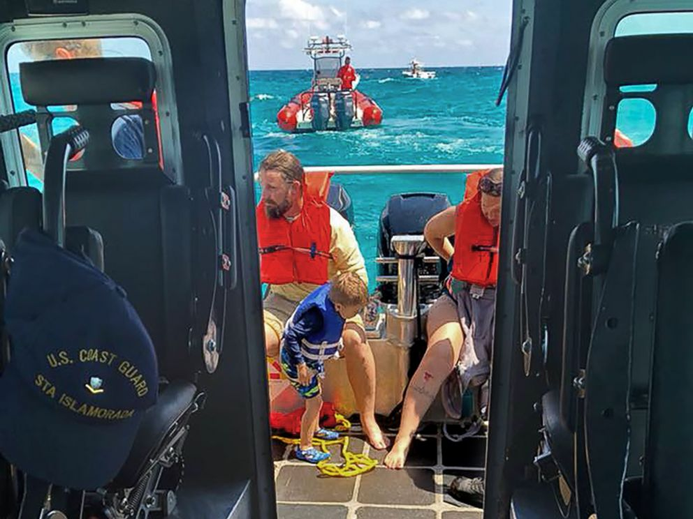 PHOTO: The U.S. Coast Guard Station Islamorada in Florida shared this image of part of a group of six who were retrieved from a capsized boat in the vicinity of Conch Reef with the help of Good Samaritans on April 7, 2018.