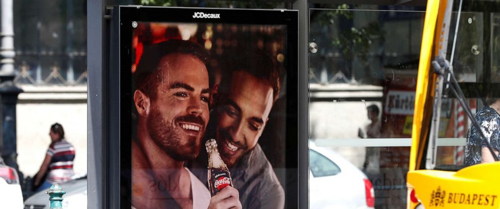 PHOTO: A billboard, part of a campaign by Coca-Cola promoting gay acceptance, which has prompted a political backlash is seen in Budapest, Hungary, Aug. 5, 2019.