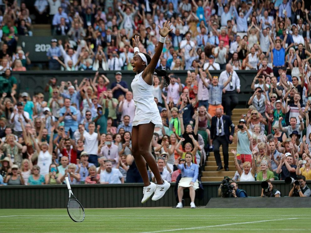 PHOTO: United States Cori Coco Gauff celebrates after beating Slovenias Polona Hercog in a Womens singles match during day five of the Wimbledon Tennis Championships in London, July 5, 2019.