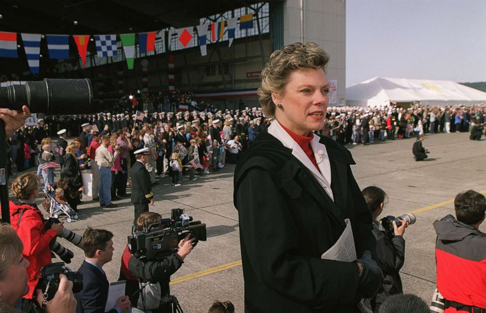 PHOTO: ABC News broadcasts live with Cokie Roberts as the 24 American soldiers held captive in China disboard their airplane at Whidbey Island Naval Air Station in Oak Harbor, Wash., April 14, 2001.